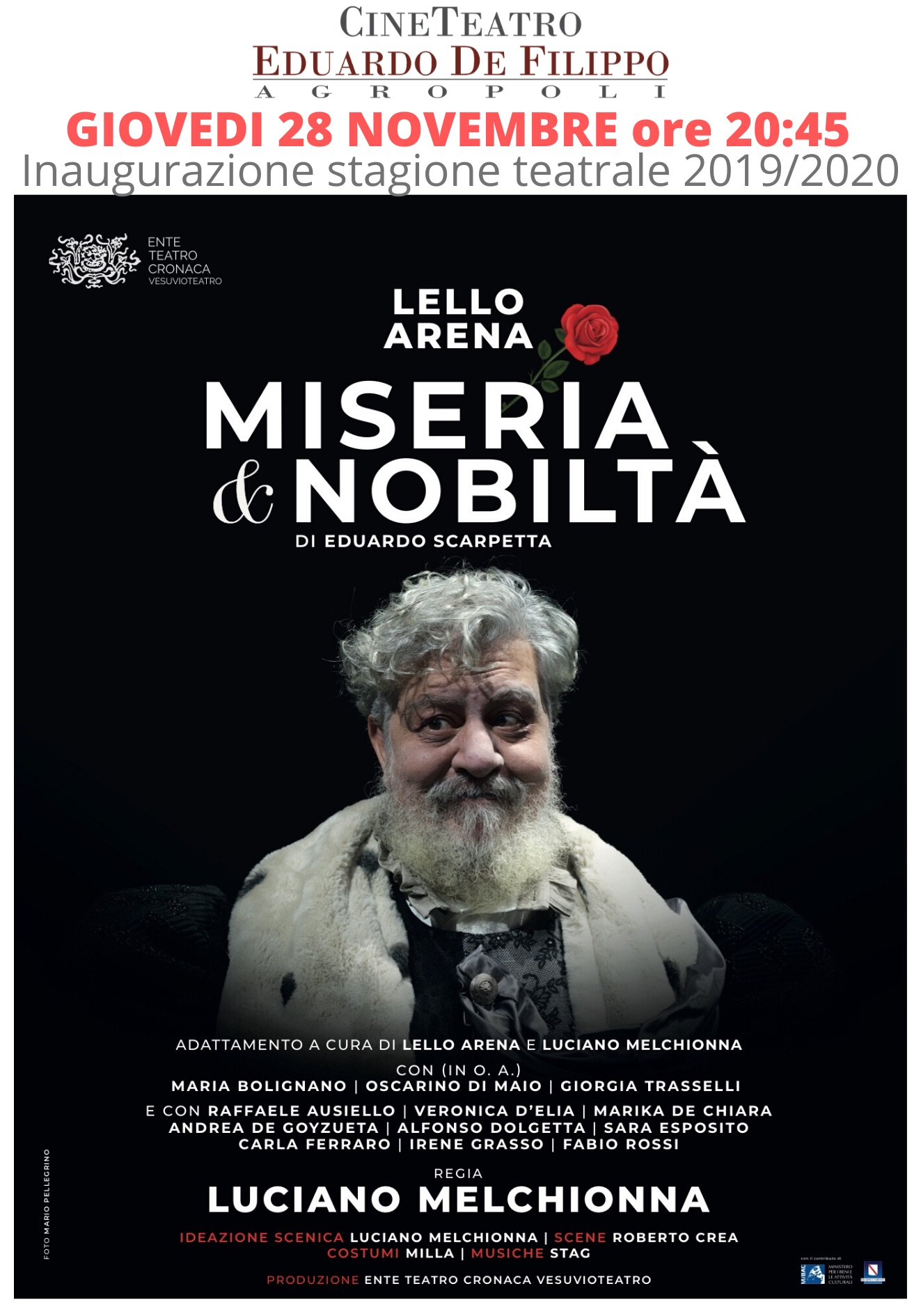 Lello Arena apre la nuova stagione teatrale